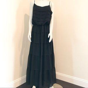 MAX STUDIO Black Tiered Sheer Ruffle Maxi Dress